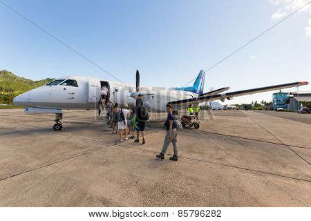 Travelers Boarding Air Rarotonga Flight