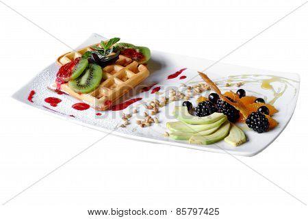 Waffles With Kiwi Selective Focus
