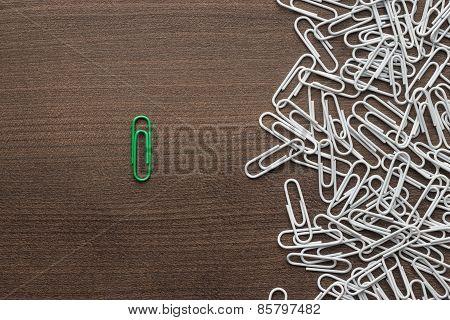 bright green paper clip concept