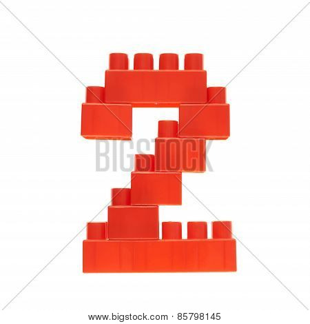 Number made of toy building bricks