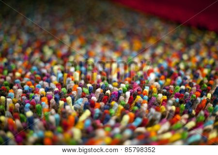 Close Up Of Multi Colored Wool Carpet