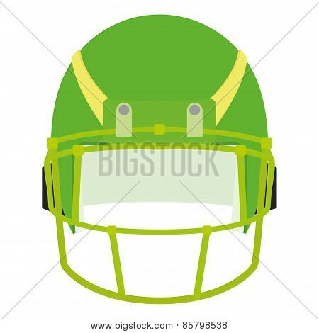 an isolated green football helm on a white background