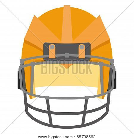 an isolated orange football helm on a white background
