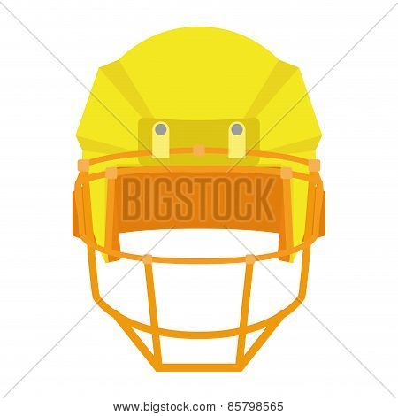 an isolated yellow football helm on a white background