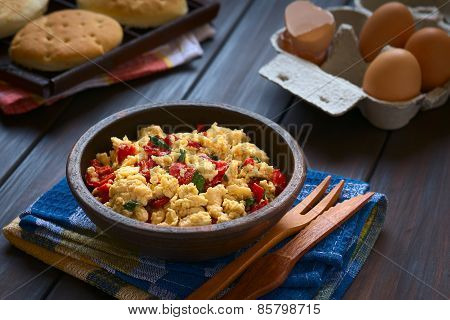 Scrambled Eggs with Red Bell Pepper and Green Onions