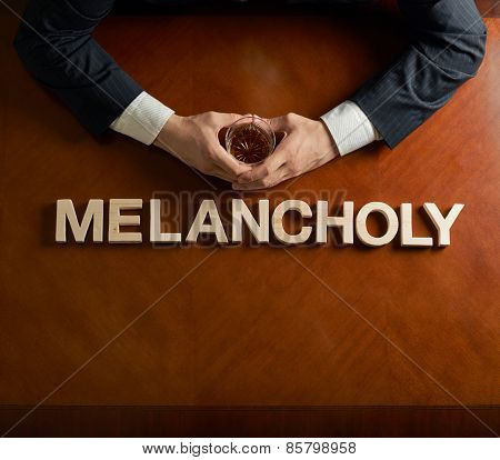 Word Melancholy and devastated man composition