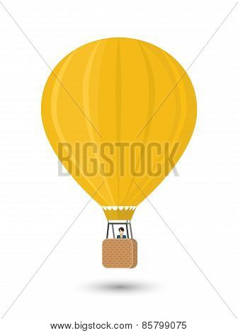 Yellow aerostat with man, flat illustration isolated