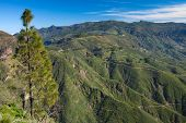 stock photo of parador  - Gran Canaria Caldera de Tejeda view over the caldera towards Pico de las Nieves the highest point of the island  - JPG