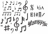 foto of clip-art staff  - Various musical notes isolated on white background - JPG