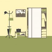 picture of wall cloud  - Hall interior with big mirror closet with drawers boxes coat hanger with hat bag and umbrellas shelving with box gumshoe and suitcase high boot on olive floor painting with sun clouds and mountains on yellow wall - JPG