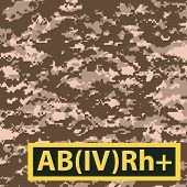 stock photo of breastplate  - Badge AB blood group with Rh positive on a special camouflage background - JPG