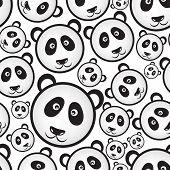 picture of panda bear  - black and white panda bear head seamless pattern eps10 - JPG