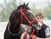 picture of thoroughbred  - The jockey and thoroughbred horse in Pyatigorsk - JPG