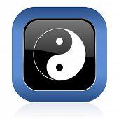 stock photo of ying-yang  - ying yang square glossy icon  - JPG