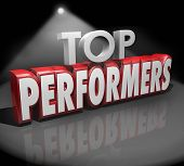 image of spotlight  - Top Performers words in 3d red letters on stage under a spotlight to illustrate or recognize best workers - JPG