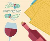 foto of passover  - Vector image for Passover celebration in flat design - JPG