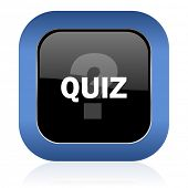 picture of quiz  - quiz square glossy icon   - JPG
