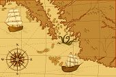 picture of kraken  - old map with a compass and ships in yellow - JPG