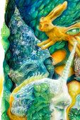 stock photo of fairies  - Beautiful fantasy colorful painting of a radiant elven fairy creatures and energy lights an insight in a fairy realm - JPG
