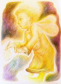 image of little angel  - fantasy little golden flying angel with fairy wings and a bunch of herbs in the hand beautiful colorful painting of a radiant fantasy elven creature and energy lights - JPG