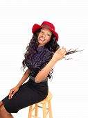 pic of woman red blouse  - A lovely African American woman in a black blouse and long black curly
