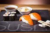 picture of souse  - sushi set with rolls, soya souse and ginger