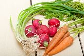 picture of root vegetables  - raw root vegetable on a rustic white wood table - JPG