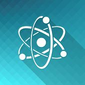 image of quantum physics  - White vector atom icon on blue mosaic background - JPG