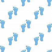 stock photo of webbed feet white  - Tracks white and blue seamless pattern for web design - JPG