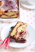 image of pound cake  - Berry swirl pound cake with vanilla glaze - JPG