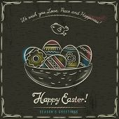pic of bird egg  - Grunge brown background with nest full of easter eggs inscription with text Happy Easter and one bird - JPG