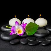image of calla lily  - spa concept of orchid flower dendrobium green leaf Calla lily and candles on zen stones background with dew closeup - JPG