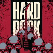 stock photo of hard-on  - Banner with a guitar human skulls and the words hard rock - JPG