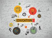 image of education  - education icons on a gray background - JPG