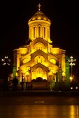 picture of trinity  - Holy Trinity Cathedral of Tbilisi Sameba by night - JPG