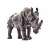 stock photo of rhino  - Rhinoceros rhino sculpture made of black leather isolated over white background - JPG