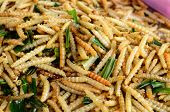 picture of worm  - fried worm on table at Thai native market - JPG