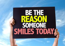 stock photo of feeling better  - Be The Reason Someone Smiles Today card with sky background - JPG
