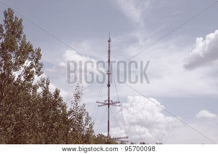 Telecommunication tower in the forest