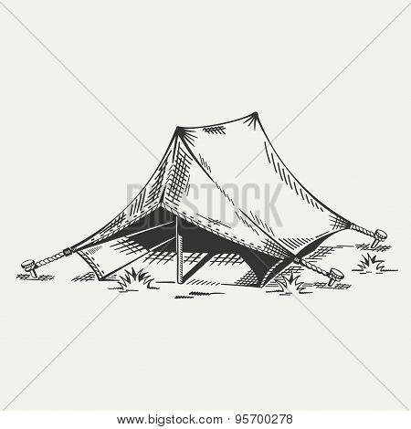 Illustration of painted tent in black and white.