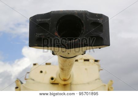 Trunk of old tank turret