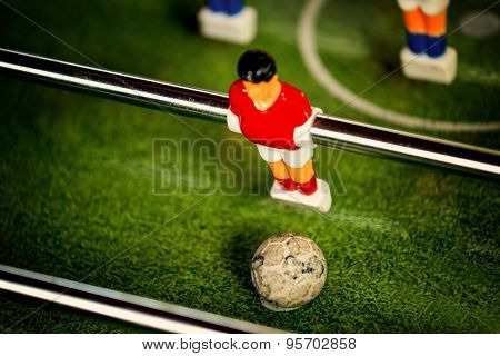 Vintage Table Soccer Player Figure Kicking Ball