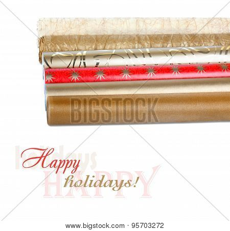 Rolls Of Wrapping Paper With Streamer For Gifts