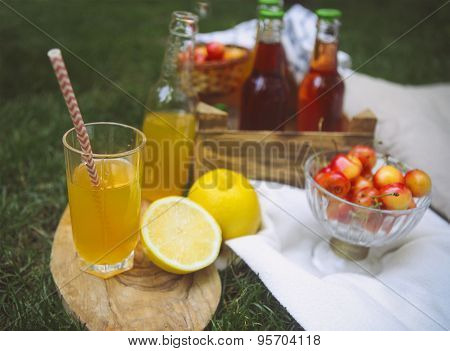 Lemonade With Cherry, Pear And Lemon On The Garden Picnic