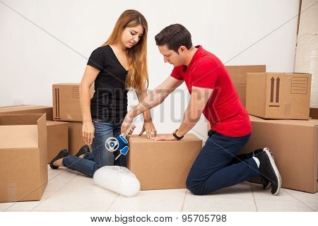 Girl Helping Her Boyfriend Move