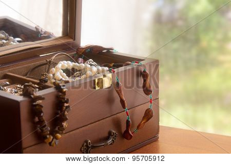 Old Treasure Chest With Jewelry