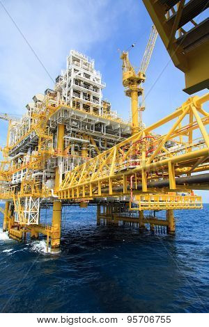 Construction platform for production energy.Oil and gas platform in the gulf or the sea