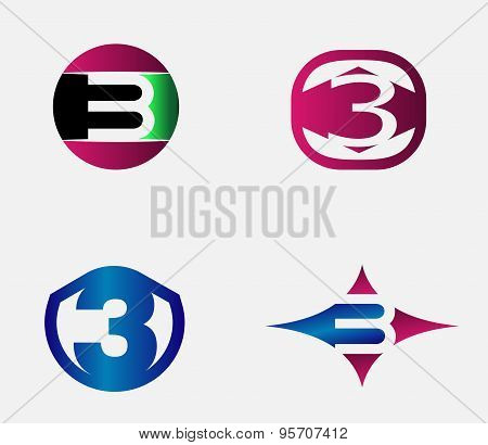 3 alphabet font number abstract, logo, symbol, icon, graphic, vector