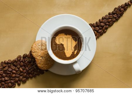 Still Life - Coffee With Map Of Africa