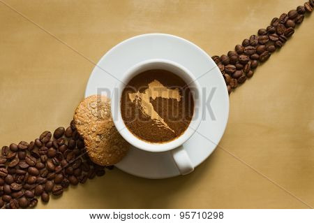 Still Life - Coffee With Map Of Croatia
